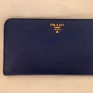 Prada Saffiano Two-Tone Blue Wallet